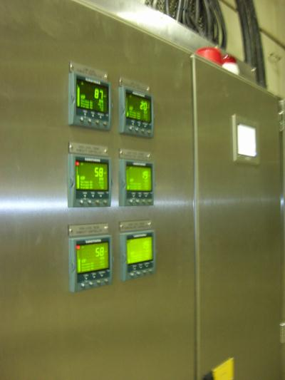 Closeup of Airwasher control panel for plant in Widnes, Merseyside