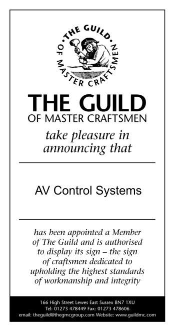 Guild of Master Craftsmen certificate for AVCS electrical engineering, design and manufacture services